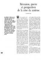 Récession, guerre,  et perspectives de  la crise du système