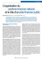 L'organisation du  système financier national  et le rôle d'un pôle financier public