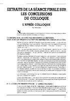 Les conclusions du colloque :
