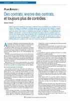 PLAN BORLOO : Des contrats, encore des contrats, et toujours plus de contrôles