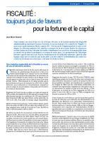 FISCALITÉ :  toujours plus de faveurs  pour la fortune et le capital