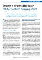 Enterrer la directive Bolkestein et lutter contre le dumping social