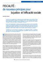 FISCALITÉ : de nouveaux principes pour  la justice et l'efficacité sociale