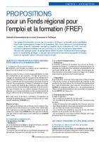 PROPOSITIONS  pour un Fonds régional pour l'emploi et la formation (FREF)