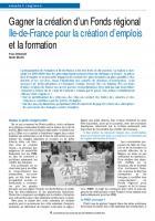 Gagner la création d'un Fonds régional Ile-de-France pour la création d'emplois et la formation