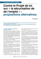 Contre le Projet de loi sur « la sécurisation de de l'emploi » : propositions alternatives