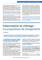 Indemnisation du chômage : six propositions de changements