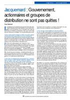 Jacquemard : Gouvernement, actionnaires et groupes de distribution ne sont pas quittes !