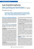 Les transformations  des politiques familiales (1ère partie)