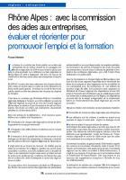 Rhône Alpes : avec la commission des aides aux entreprises,  évaluer et réorienter pour promouvoir l'emploi et la formation