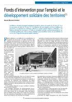 Fonds d'intervention pour l'emploi et le développement solidaire des territoires