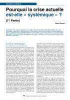 1ère partie - Pourquoi la crise actuelle est-elle « systémique » ?