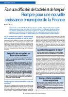 Face aux difficultés de l'activité et de l'emploi : Rompre pour une nouvelle croissance émancipée de la Finance
