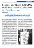 Le projet pour l'École de l'UMP au service de choix de société basés sur l'injustice (1ère partie)