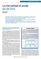 La crise sanitaire et sociale de l'été 2003