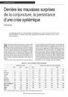 Derrière les mauvaises surprises de la conjoncture, la persistance d'une crise systémique