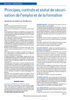Principes, contrats et statut de sécurisation de l'emploi et de la formation