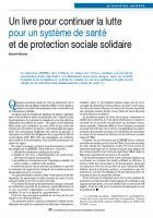 Un livre pour continuer la lutte pour un système de santé et de protection sociale solidaire