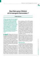Que faire pour Alstom  et le transport ferroviaire ?