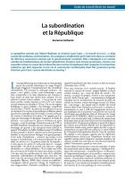 La subordination et la République