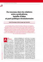 Du nouveau dans les relations  entre syndicalisme, bataille d'idées  et parti politique révolutionnaire