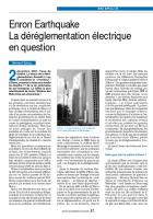 Enron Earthquake. La déréglementation électrique en question