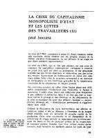 La crise du capitalisme   monopoliste d'Etat   et   les luttes des travailleurs (II). Janvier 1970