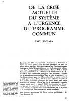 De l'actualité de la crise du  système  à  l'urgence  du programme commun