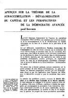 Aperçus sur la théorie   de la suraccumulation  -   dévalorisation du capital   et les perspectives de la   démocratie avancée   (1ère partie)