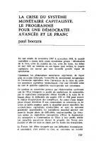 programmes pour une  démocratie  avancée et le franc. Juin 1969
