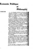 Économie politique et philosophie. Aout 1963