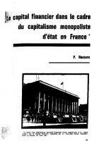 Le capital financier dans le cadre du capitalisme monopoliste d'Etat en France. Septembre 1964