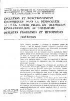 Evolution et fonctionnement  économiques dans la démocratie  avancée, comme phase de transition  révolutionnaire au socialisme  problèmes et hypothèses  (3ème partie)