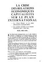 La crise des relations   économiques capitalistes