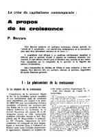 Crise du  capitalisme contemporain :  à propos de la croissance. Novembre 1963