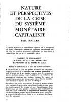 Nature et perspectives  de la crise du système  monétaire et capitaliste