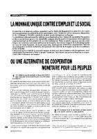 La monnaie unique  contre l'emploi et le social  ou une alternative de  coopération monétaire  pour les peuples