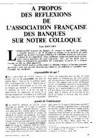 A propos des réflexions  de l'Association  française des banques   sur notre colloque