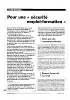Pour une « sécurité  emploi - formation »