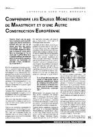 Comprendre les enjeux  monétaires de Maastricht  et d'une autre construction  européenne
