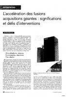 L'accélération des fusions  acquisitions géantes :  signification  et défis d'intervention