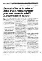 Exaspération de la crise et défis d'une restructuration  pour une nouvelle mixité à prédominance sociale