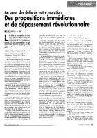 Des propositions immédiates et  de dépassement révolutionnaire
