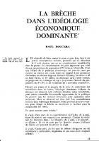 La brèche dans l'idéologie économique dominante