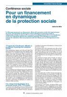 Conférence sociale  : Pour un financement en dynamique  de la protection sociale