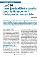 Conférence sociale La CSG : enjeu du débat pour le financement de la protection sociale