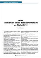 Grèce : Intervention d'André Chassaigne lors du débat parlementaire du 8 juillet 2015