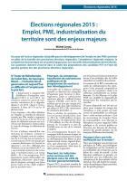 Élections régionales 2015 : Emploi, PME, industrialisation du territoire sont des enjeux majeurs