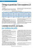 Chômage et pauvreté dans l'Union européenneà 25