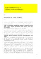 Refonder l'Europe - Introduction de la convention nationale du 16 novembre par Patrick Le Hyaric